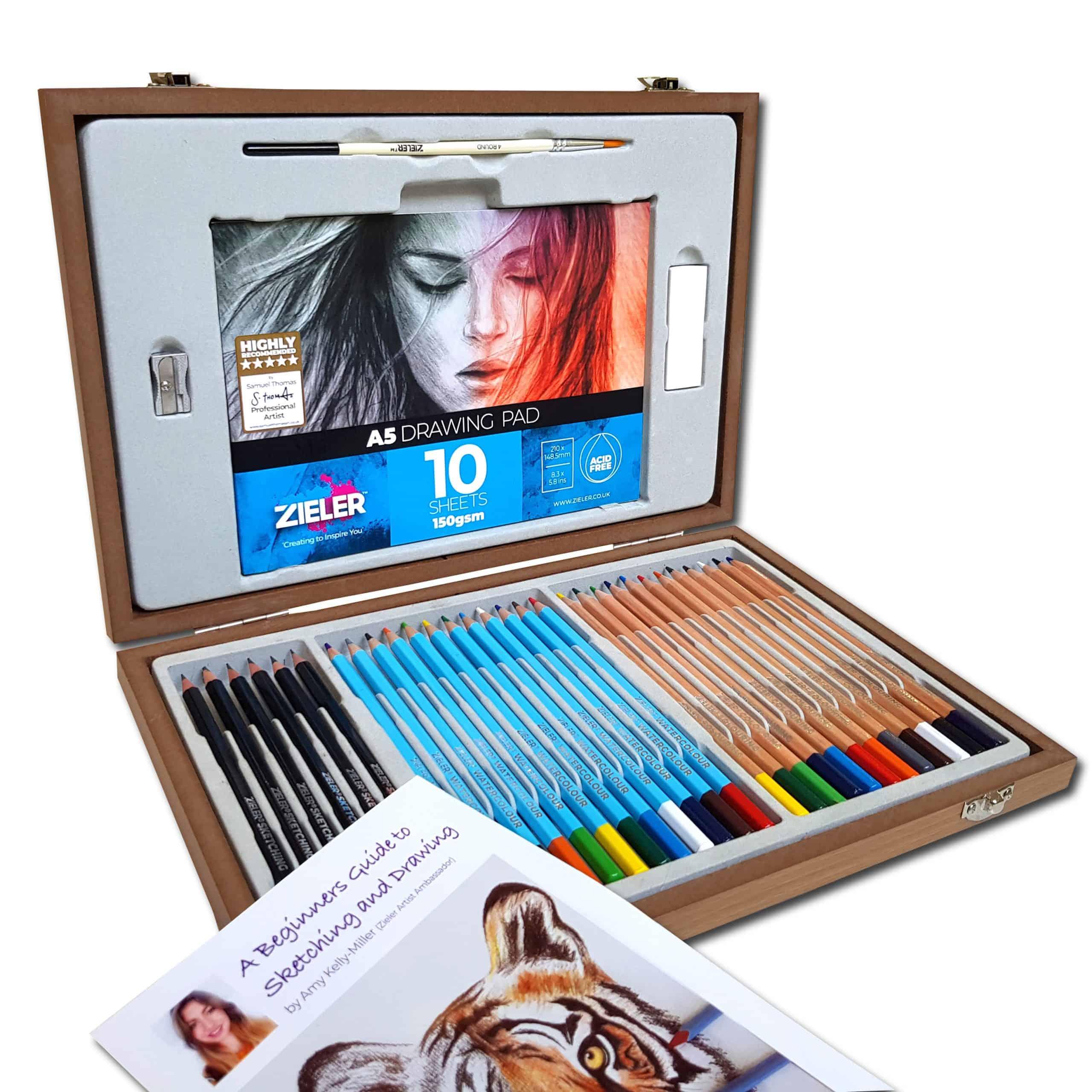 Caja madera lápices dibujo 36 piezas. ZIELER